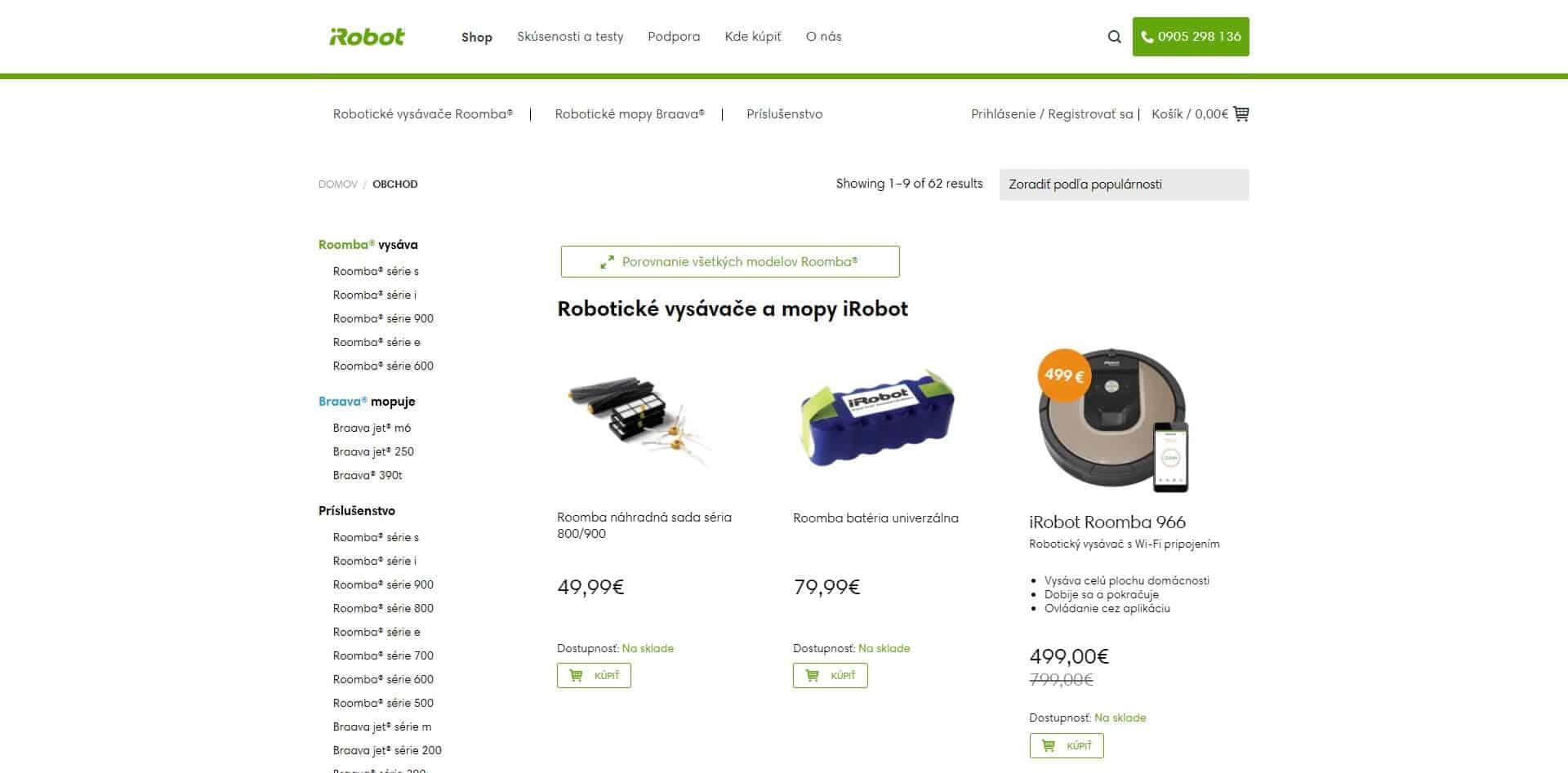Redizajn eshopu iRobot.sk